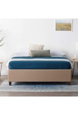 LUCID LUCID Upholstered Bed with Slats – Linen Inspired Fabric – No Box Spring Required – Compatible with Adjustable Bases Platform, California King, Beige