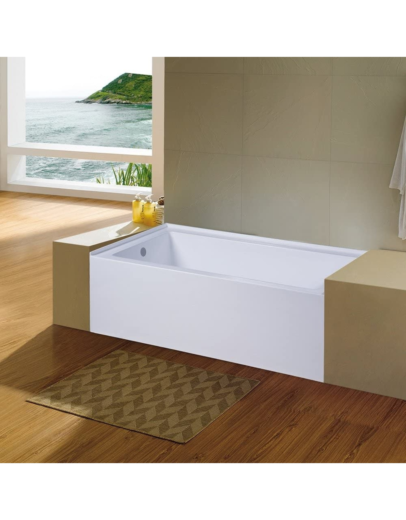 Kingston Brass KINGSTON BRASS VTDE603122L 60-Inch Contemporary Alcove Acrylic Bathtub with Left Hand Drain and Overflow Holes, White