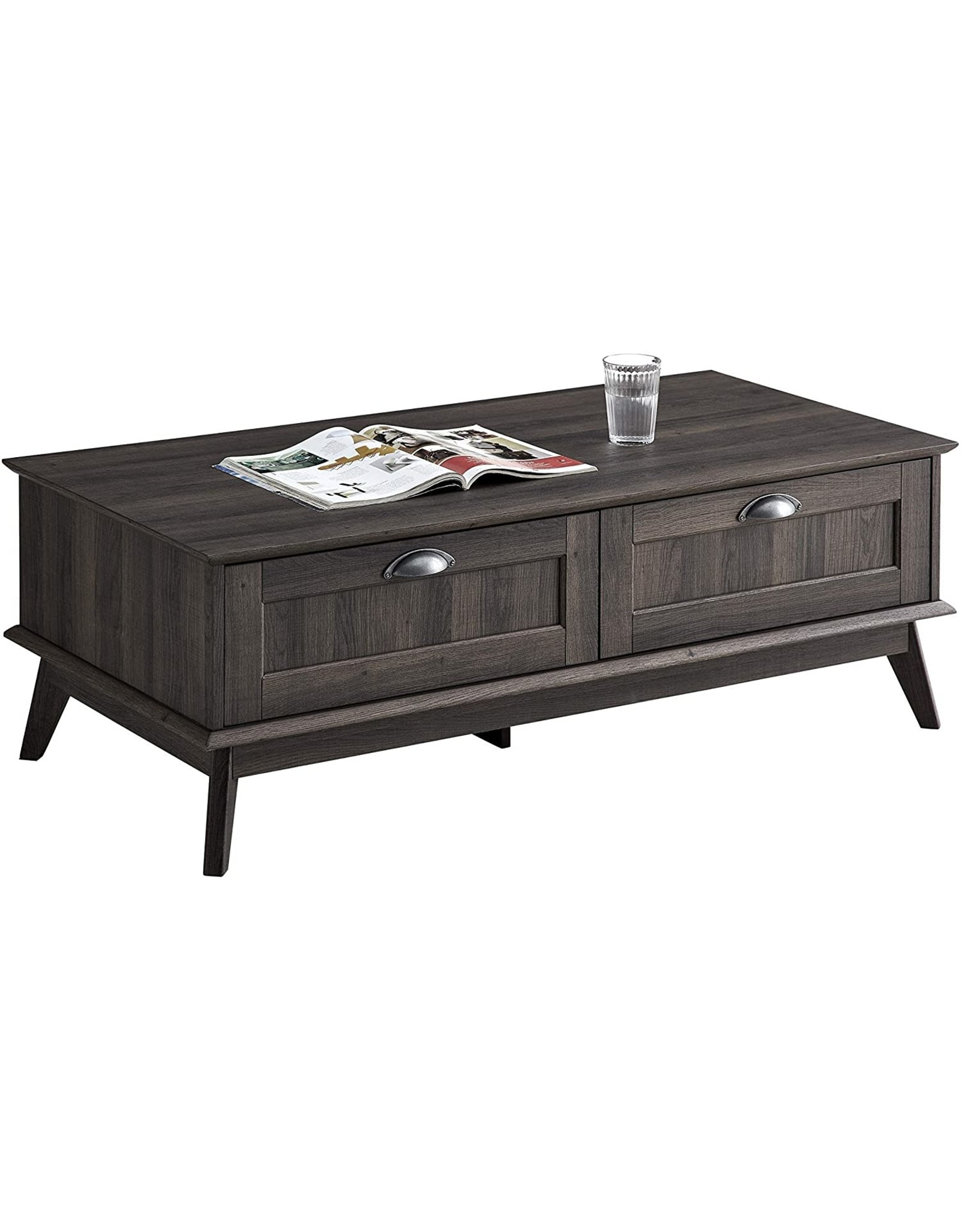 Caffoz Newport Series Tall Center Coffee Table with Two Fully Extended Drawers | Sturdy and Stylish | Easy Assembly| Smoke Oak Wood Look Accent Living Room Home Furniture