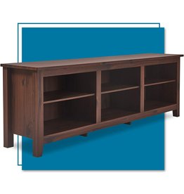 """ClickDecor ClickDecor Farmhouse Stand, White Wash Mid-Century Wood Universal Entertainment Center Console for TV's up to 70"""" Flat Screen Living Room with Storage Shelves, Dark Walnut"""