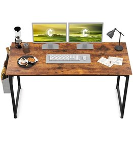 """CubiCubi CubiCubi Study Computer Desk 55"""" Home Office Writing Small Desk, Modern Simple Style PC Table, Black Metal Frame, Rustic Brown"""
