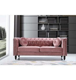 US Pride Furniture US Pride Furniture Connally Chesterfield 76 ' Rolled Arms Sofas, Rose