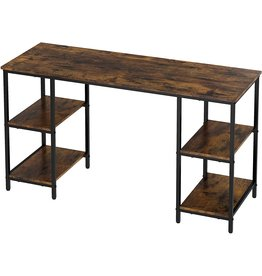 Yusong Yusong Home Office Computer Desk,55 Inch Writing Desk with Shelves on Both Sides,Industrial Retro Laptop Desk with Ample Storage Space and Main Frame