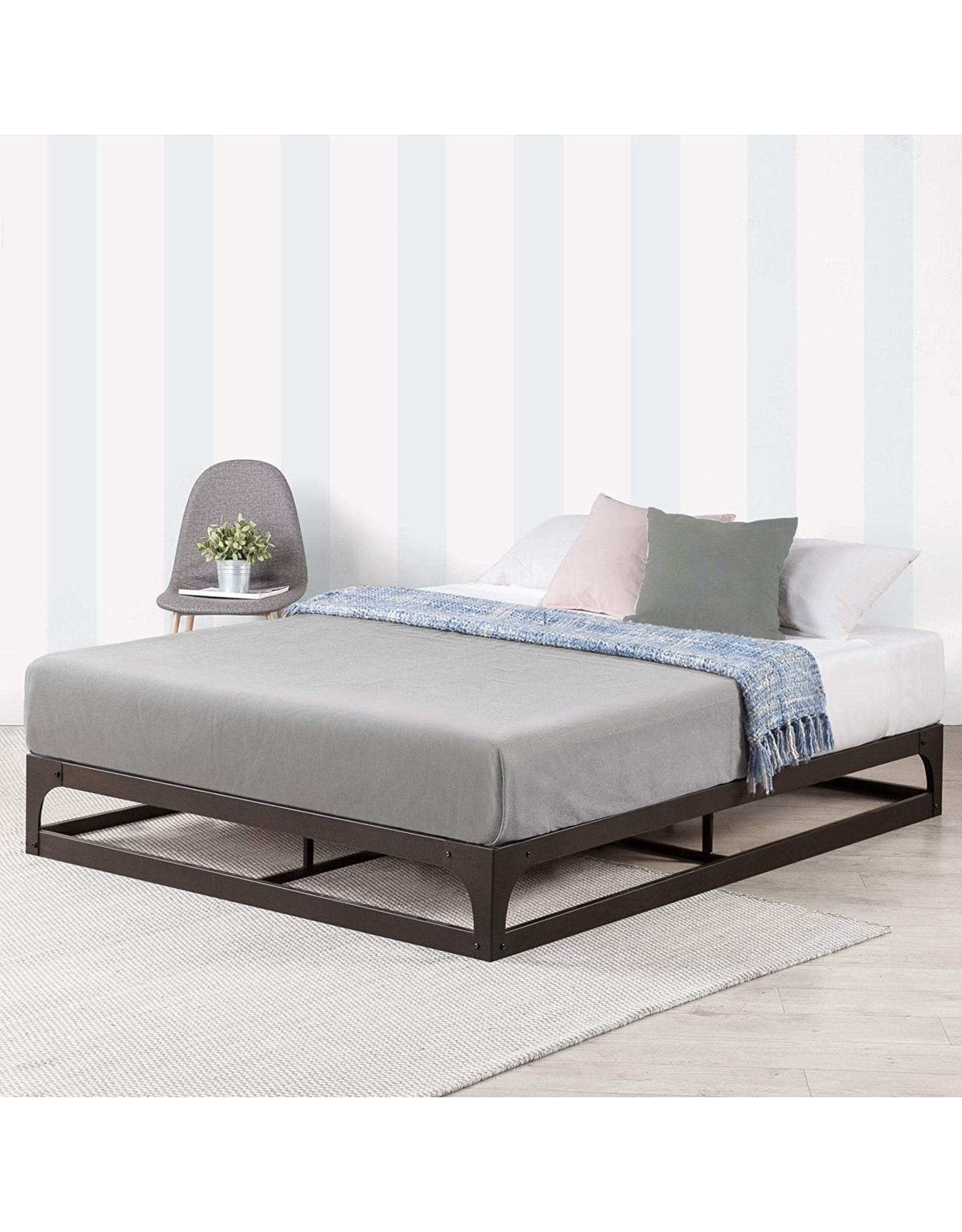 Mellow Mellow 9 Inch Metal Platform Bed Frame with Heavy Duty Steel Slat Mattress Foundation (No Box Spring Needed), Queen, Black