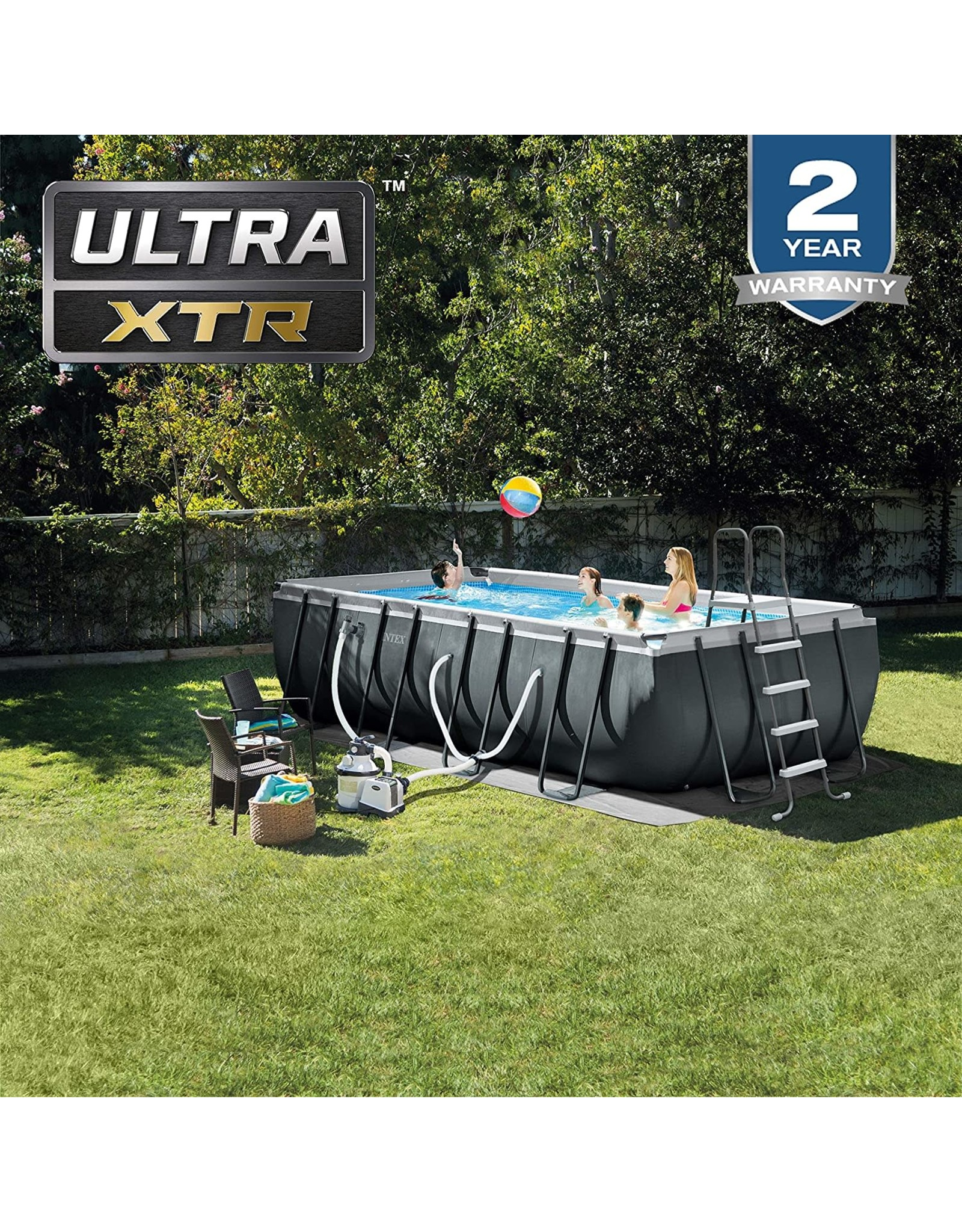 Intex Intex 18ft X 9ft X 52in Ultra XTR Rectangular Pool Set with Sand Filter Pump, Ladder, Ground Cloth & Pool Cover