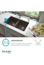 "Elkay Elkay Quartz Classic ELGHU3322RGS0C 33"" x 22"" x 10"", Offset 60/40 Double Bowl Undermount Sink Kit with Aqua Divide, Greystone"