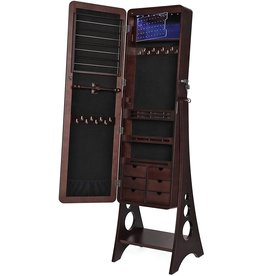 SONGMICS SONGMICS 8 LEDs Jewelry Cabinet Armoire with Beveled Edge Mirror, Gorgeous Jewelry Organizer Large Capacity Brown Patented UJJC89K