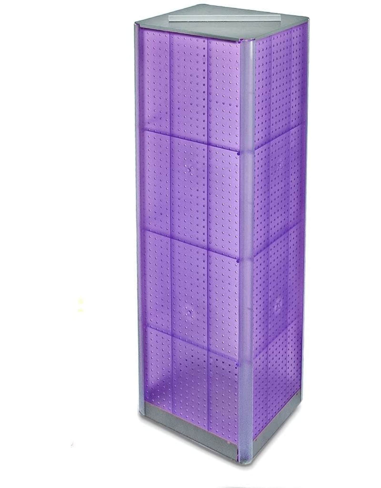 """Azar Displays Azar 700405-PUR FOUR-SIDED PEGBOARD TOWER FLOOR DISPLAY ON REVOLVING BASE. PANEL SIZE: 16""""W X 60""""H"""