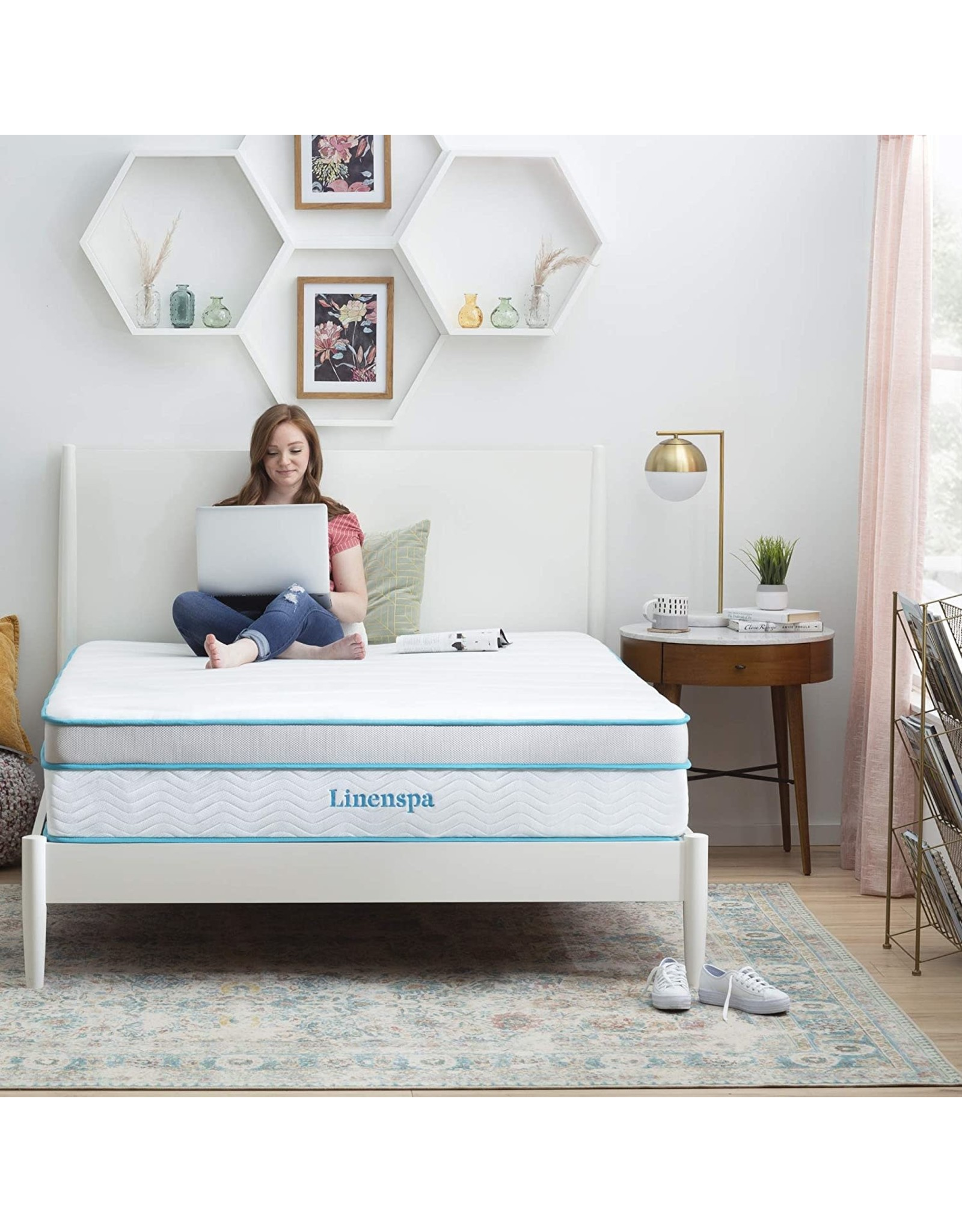 Linenspa Linenspa 12 Inch Memory Hybrid Plush-Individually Encased Coils-Edge Support-Quilted Foam Cover Mattress, King, White