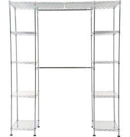"""Amazon Basics Expandable Metal Hanging Storage Organizer Rack Wardrobe with Shelves, 14""""-63"""" x 58""""-72"""", Chrome"""