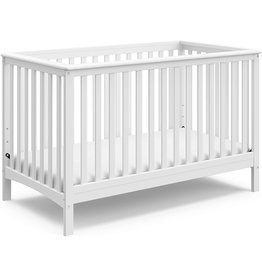 Stork Craft Storkcraft Hillcrest Fixed Side Convertible Crib, White, Easily Converts to Toddler Bed Day Bed or Full Bed, Three Position Adjustable Height Mattress, Some Assembly Required (Mattress Not Included)