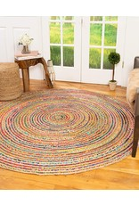 Natural Area Rugs Natural Area Rugs Handmade Brooklyn Multicolor Cotton Jute Rug 7' Round