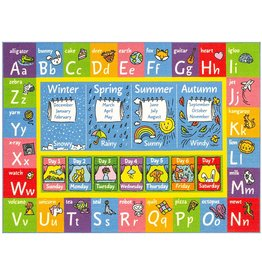 """KC Cubs KC Cubs Playtime Collection ABC Alphabet, Seasons, Months and Days of the Week Educational Learning Area Rug Carpet For Kids and Children Bedrooms and Playroom (8' 2"""" x 9' 10"""")"""