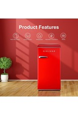 Galanz Galanz GLR33MRDR10 Retro Compact Refrigerator, Single Door Fridge, Adjustable Mechanical Thermostat with Chiller, 3.3 Cu Ft, Red