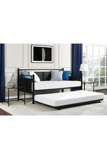 DHP DHP Astoria Metal and Upholstered Daybed/Sofa Bed with Included Trundle, Twin Size Frame, Black