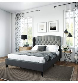 Classic Brands Classic Brands Coventry Upholstered Platform Bed  Headboard and Metal Frame with Wood Slat Support, King, Grey