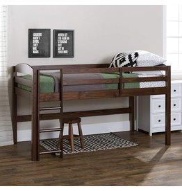 Walker Edison Walker Edison Della Classic Solid Wood Twin over Wood Loft Bunk Bed, Twin Size, Walnut