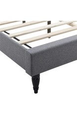 Classic Brands Classic Brands Coventry Upholstered Platform Bed  Headboard and Metal Frame with Wood Slat Support, King, Light Grey