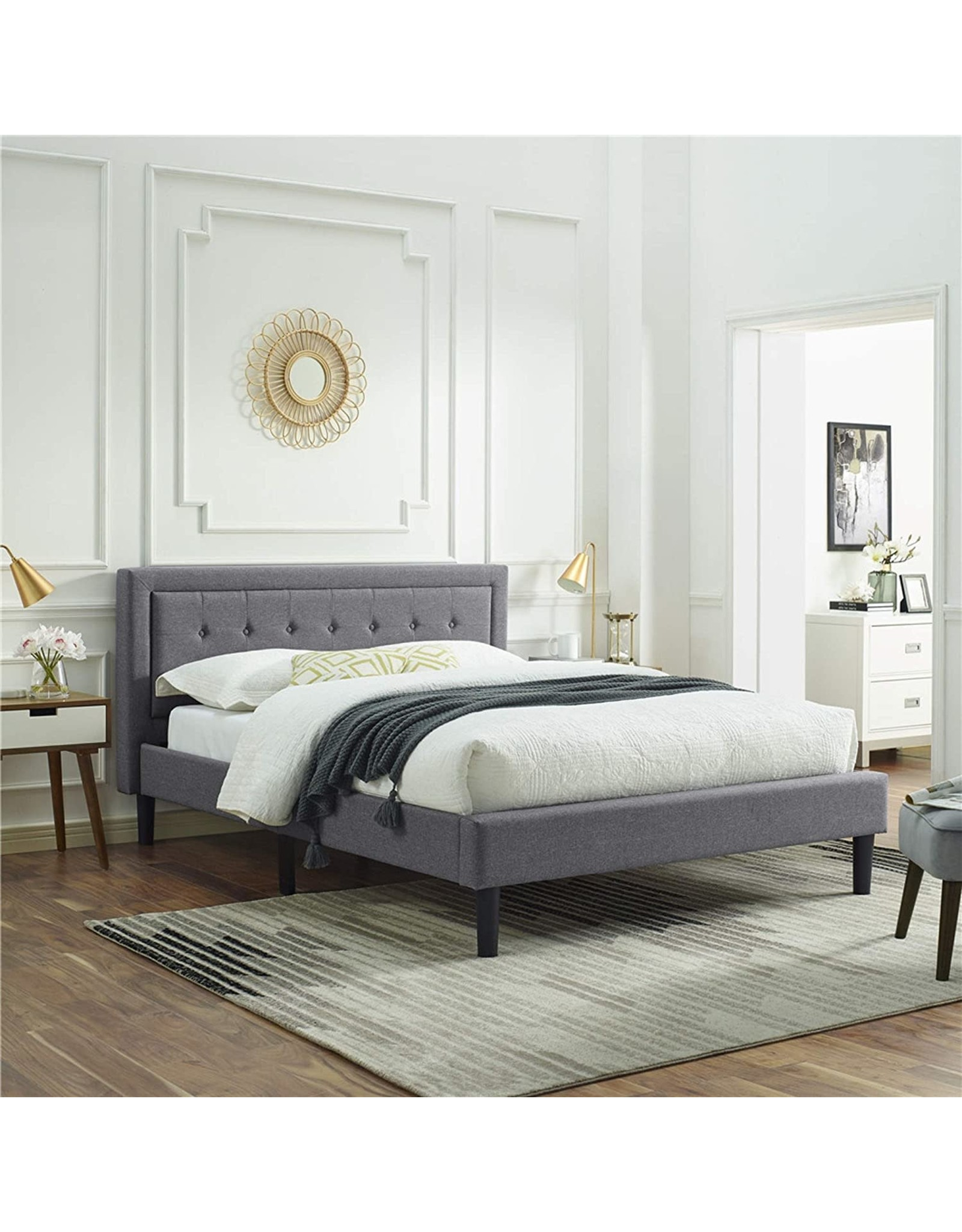 Classic Brands Classic Brands Mornington Upholstered Platform Bed  Headboard and Metal Frame with Wood Slat Support, King, Light Grey