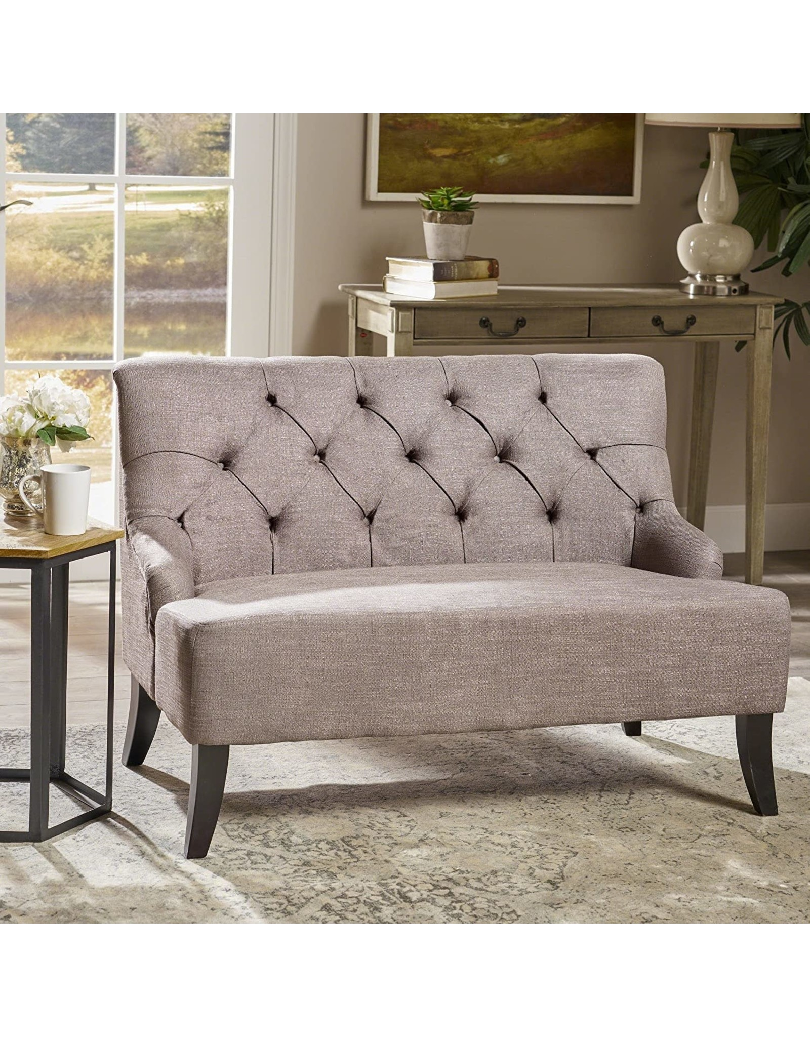 Christopher Knight Christopher Knight Home Nicole Fabric Settee, Grey, L 44.25 x W 29.75 x H 30.5