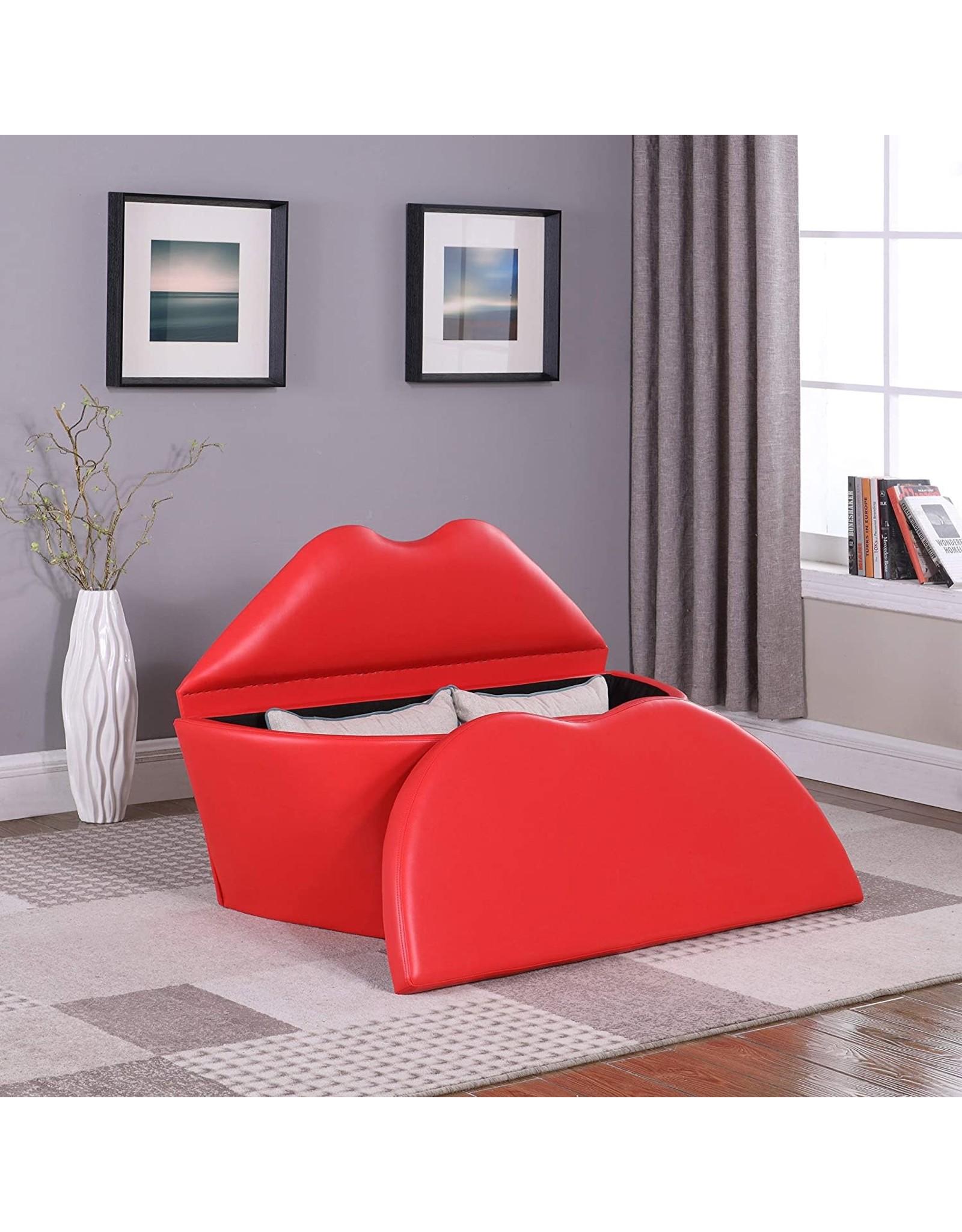 "ORE ORE international 31"" In Red Lips Storage Leisure Loveseat Chair"