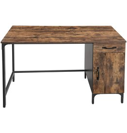 VASAGLE VASAGLE Computer Desk, Writing Study Table with Drawer and Cabinet for Home Office, 51 Inches Industrial Style PC Laptop, Simple Assembly, Black Metal Frame, Rustic Brown ULWD51X