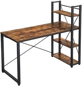 VASAGLE VASAGLE Computer Desk, 55 Inch Study Writing Desk with Storage Shelves for Home Office, Industrial Style PC Laptop Table, Easy Assembly, Sturdy, Rustic Brown and Black ULWD49X
