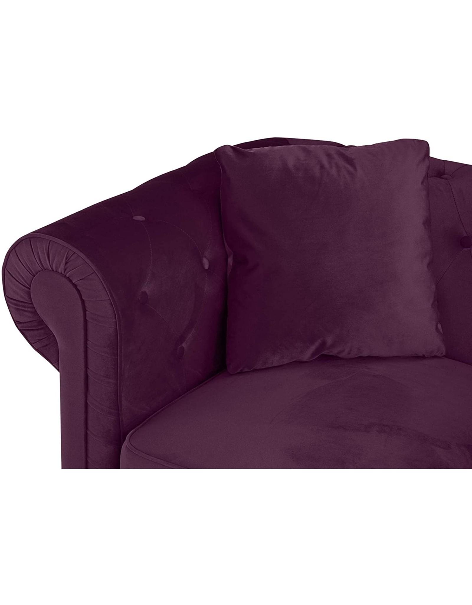 Casa Andrea Milano Casa Andrea Milano llc Classic Velvet Scroll Arm Tufted Button Chesterfield Sofa (Grey), Large, Purple