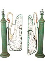 Design Toscano Design Toscano FU76162 Swan Serenade Entryway Metal Garden Gate, Full Color