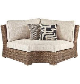 Signature Design by Ashley Signature Design by Ashley - Beachcroft Outdoor Corner Chair with Cushions - All-weather Wicker Frame - Beige