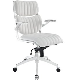 Modway Modway Escape Ribbed Faux Leather Ergonomic Computer Desk Office Chair in White