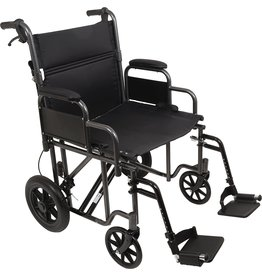 Roscoe Medical ProBasics Bariatric Transport Chair with 12-inch Rear Wheels