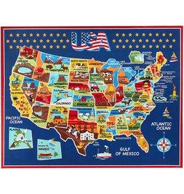Gertmenian Gertmenian Smithsonian Rug US Map Learning Carpets Bedding Play Mat Classroom Decorations Blue Area Rugs 8x10, Navy (40642)