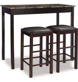 "Linon Linon Brown 3-Piece Table Faux Marble Tavern Set, 42"" w x 22.25"" d x 36"" h"