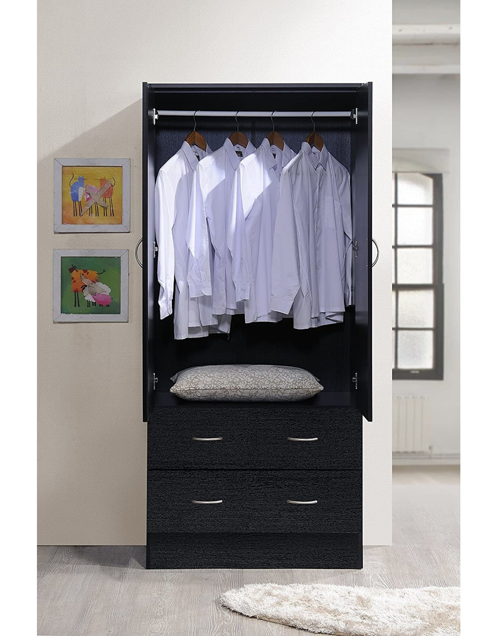 Hodedah Hodedah Two Door Wardrobe, with Two Drawers, and Hanging Rod, Black