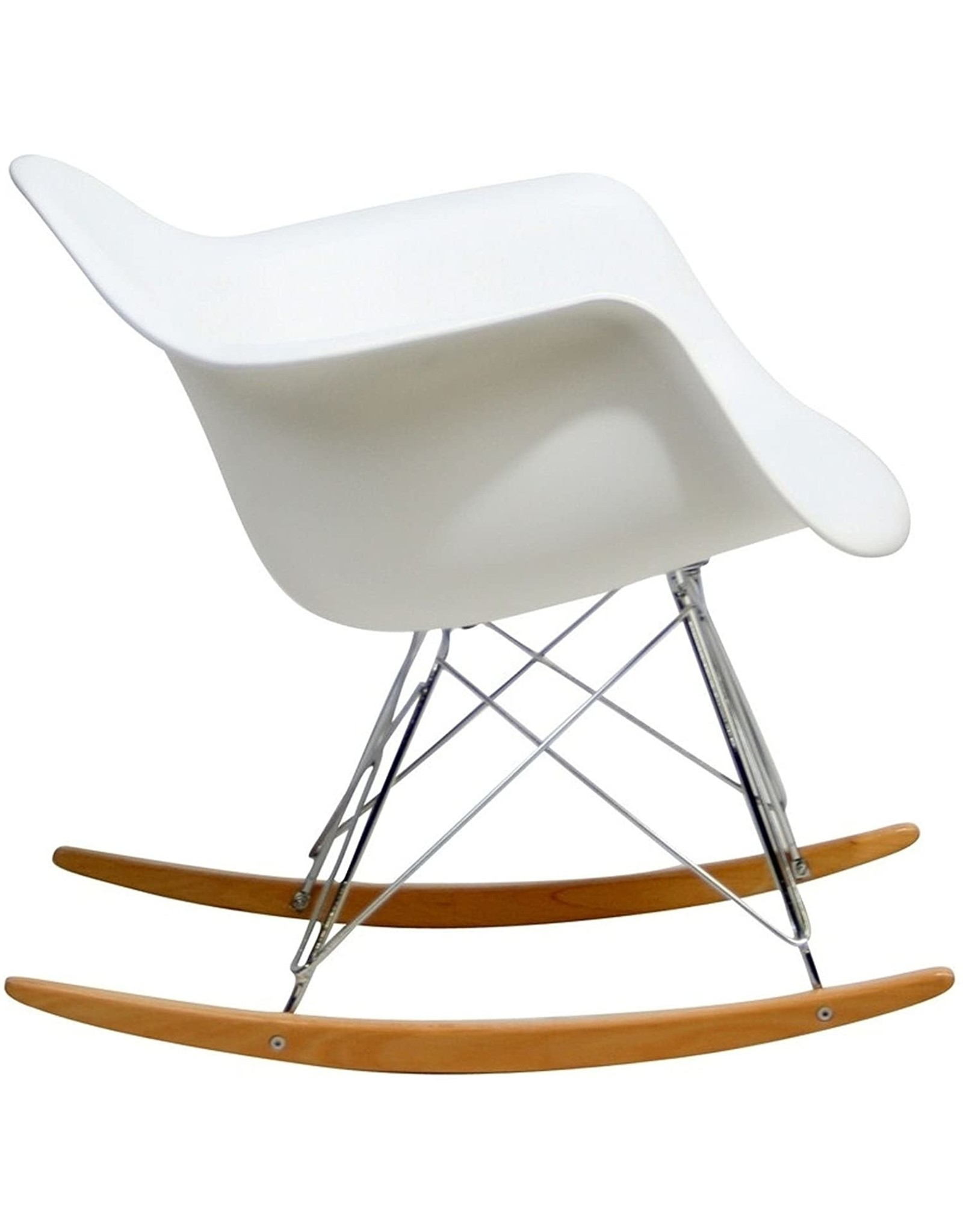 Modway Modway Mid-Century Modern Molded Plastic Kid's Size Lounge Chair Rocker in White