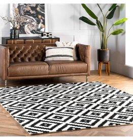 nuLOOM nuLOOM Kellee Contemporary Wool Area Rug, 8' Square, Black