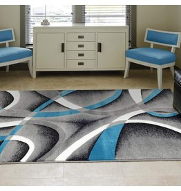 Persian Area Rugs Persian Area Rugs Turquoise 8x11 2305 White Swirls 7'10 x10'6 Modern Abstract Area Rug, 8' x 11'