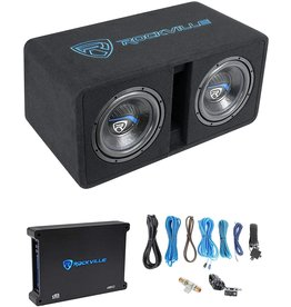 "Rockville Rockville DK512 Package Dual 12"" 2800w K5 Car Subwoofer Enclosure+DB12 Amplifier"
