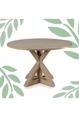 """Finch Finch Alfred Round Solid Wood Rustic Dining Table for Farmhouse Kitchen Room Decor, Wooden Trestle Pedestal Base, 47"""" Wide Circular Tabletop, Distressed Beige"""