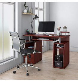 "Techni Mobili Techni Mobili Complete Computer Workstation Desk With Storage, Mahogany, 48"" W x 22"" D x 34"" H"