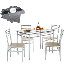 VECELO VECELO Dining Table with 4 Chairs [4 Placemats Included-] Silver