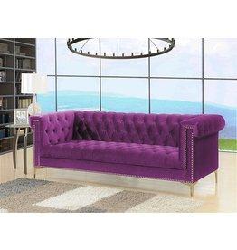Iconic Home Iconic Home Gold/Purple Bea Velvet with Nail head Trim Tone Metal Sofa