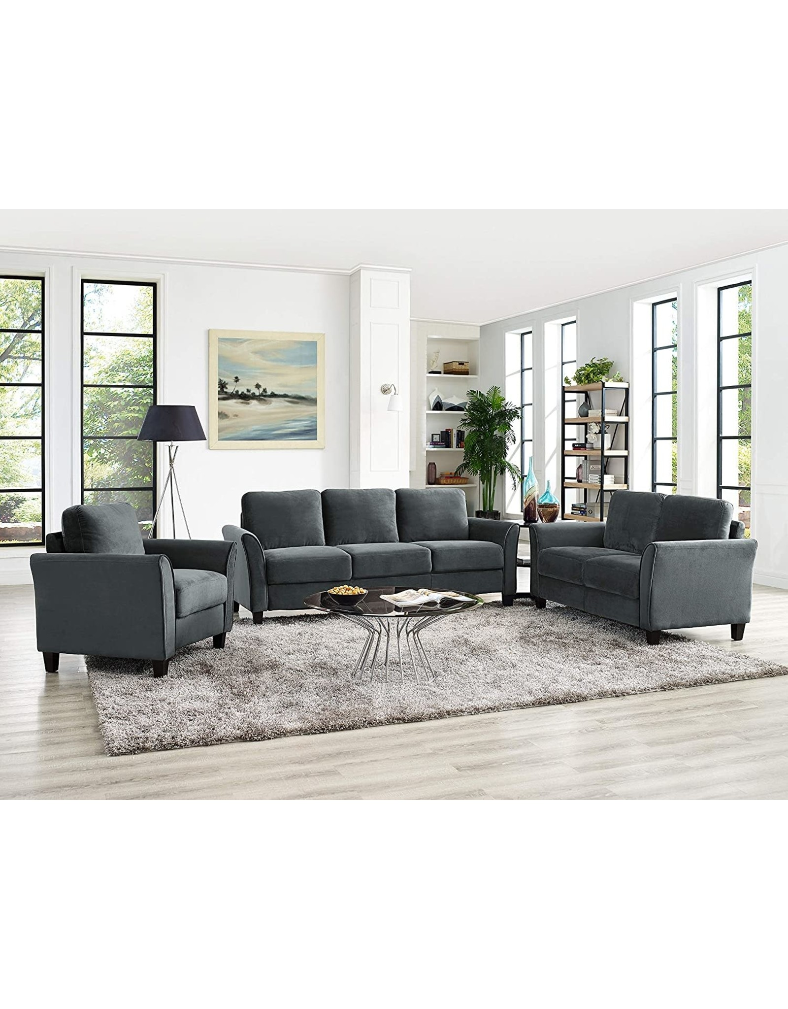 LifeStyle Solutions Lifestyle Solutions Wen Austin Curved-Arm Sofa Dark Grey