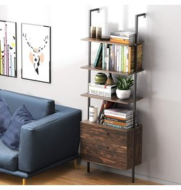 UVII Industrial Ladder Shelf with Drawers, 3-Tier Wall Mounted Bookcase Open Bookshelf, Wood Storage Rack with Metal Frame, Plant Flower Stand for Home, Living Room, Kitchen, Office