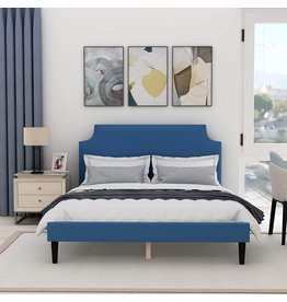 AUFANK Upholstered Full Platform Bed Frame with Scalloped Tufted Headboard,Strong Wood Slat Support,Blue, Queen