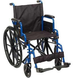 Drive Medical Drive Medical Blue Streak Wheelchair with Flip Back Desk Arms, Swing Away Footrests, 18 Inch Seat