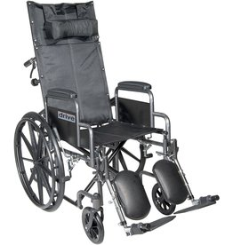 Drive Mechanical Drive Medical SSP20RBDDA Silver Sport Reclining Wheelchair with Detachable Desk Length Arms and Elevating Leg Rest, Silver Vein, 20 Inch