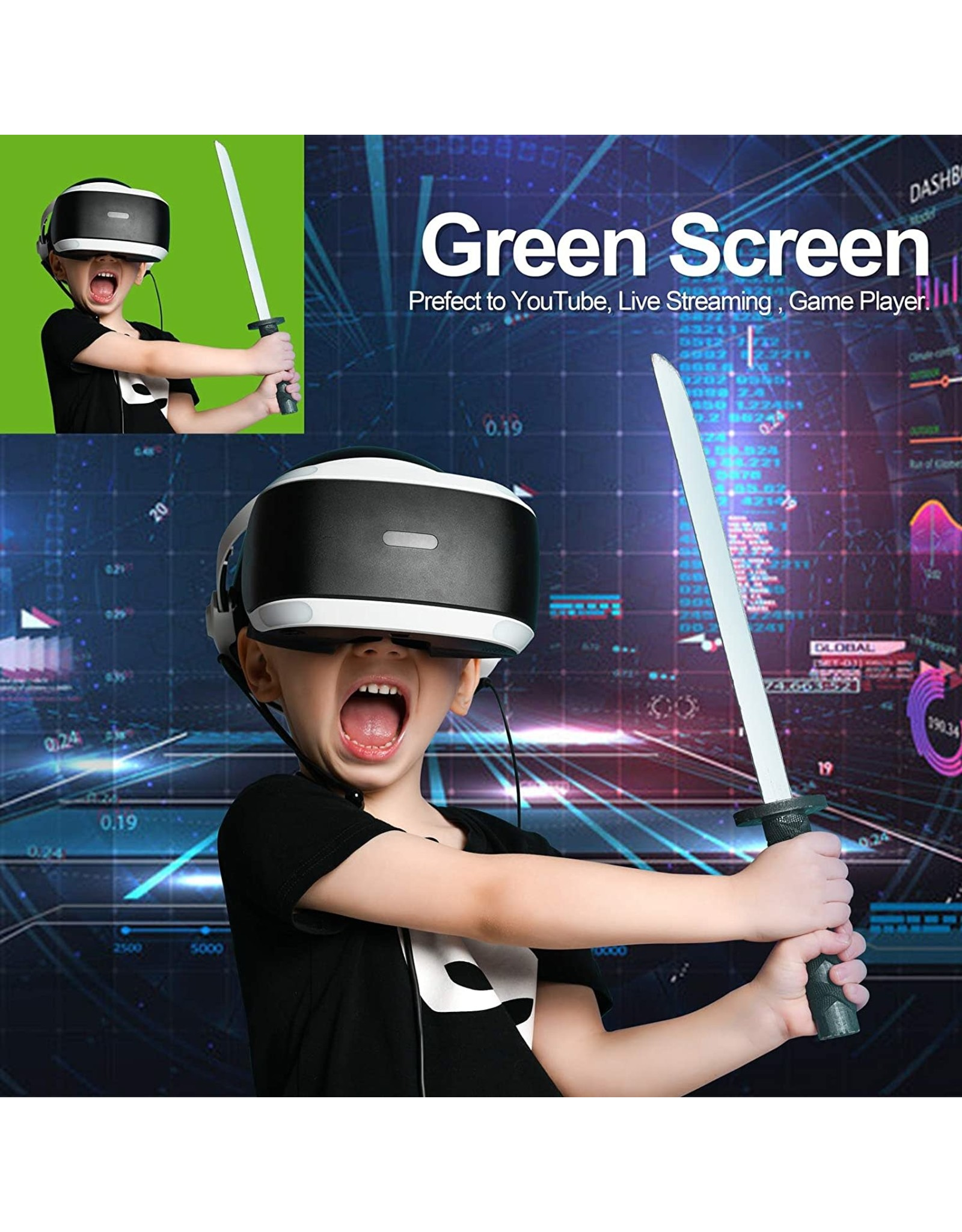EMART Emart Green Screen, Collapsible Chromakey Panel for Photo Backdrop Video Studio, Portable Pull Up Wrinkle-Resistant Greenscreen Background, Auto-Locking Air Cushion Frame, Solid Safety Aluminium Base