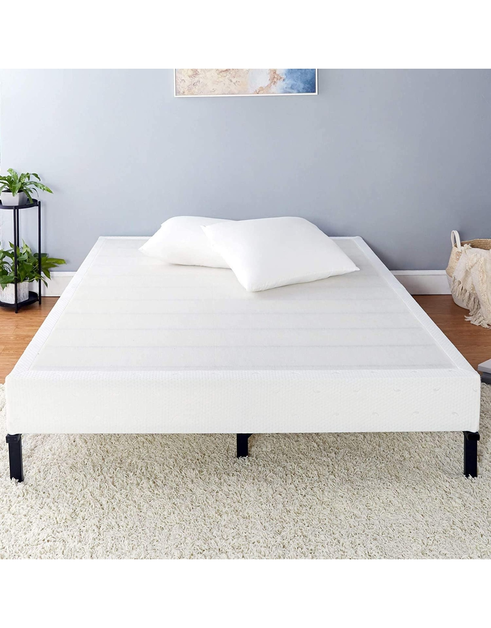 Amazon Basics Basics Mattress Foundation / Smart Box Spring for Cal King Size Bed, Tool-Free Easy Assembly - 9-Inch, Cal King